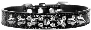 Double Crystal and Spike Croc Dog Collar Black Size 20